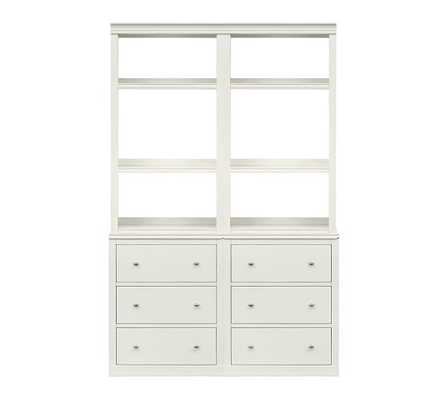 Logan Open Bookcase with Drawers - Pottery Barn