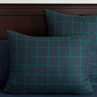 Boxter Plaid Standard Sham - Navy/Bright Green - Insert sold separately - Pottery Barn Teen