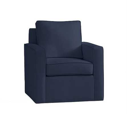 Cameron Square Arm Upholstered Swivel Armchair - Pottery Barn
