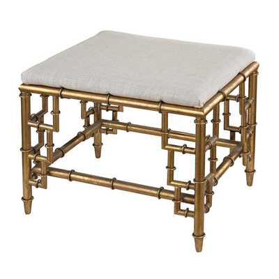 Tunbridge Stool with Bamboo Frame and Linen Seat - Overstock