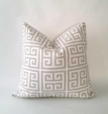 Greek Key Print Decorative Pillow Covers - 18x18 - Tan/White - No Insert - Etsy