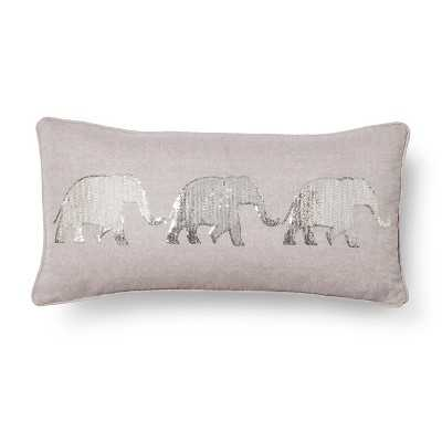 "Elephant Decorative Pillow - Gray, 12""x24"", Feather insert - Target"