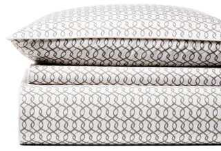Linked Lattice Duvet Set, Pewter - One Kings Lane
