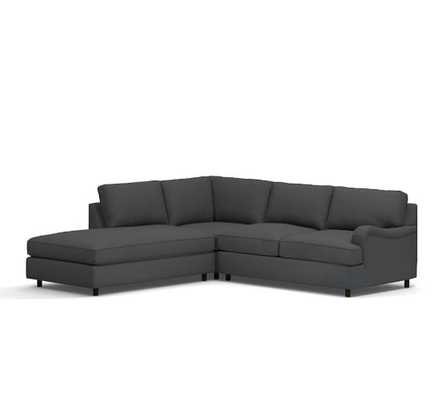 Right 3-Piece Bumper Sectional - Gunmetal Gray - Pottery Barn