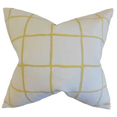 """Owen Checked Citrine Down and Feather Filled Throw Pillow - 18""""x18"""" - Overstock"""