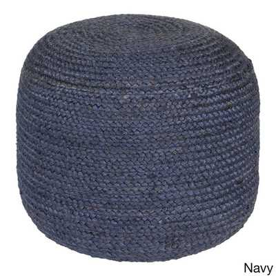 Jute Solid-Colored 22-inch Pouf - Overstock
