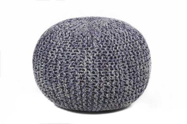 HAND-KNITTED CONTEMPORARY COTTON POUF - Burke Decor