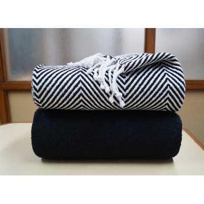 Elegancia 2 Piece Cotton Chevron Throw Blanket Set - Black - Wayfair
