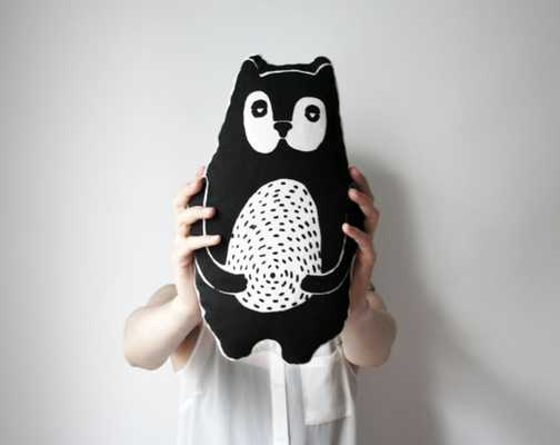 "Cute screen printed cotton bear pillow 36""x21""-Black/White-Insert - Etsy"