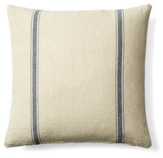 Stripe 20x20 Cotton Pillow, Cream/Blue - One Kings Lane