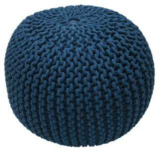 Kelli Knitted Pouf, Navy - One Kings Lane