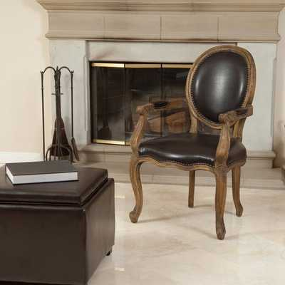 Christopher Knight Home Jacob Brown Bonded Leather Weathered Oak Arm Chair - Overstock