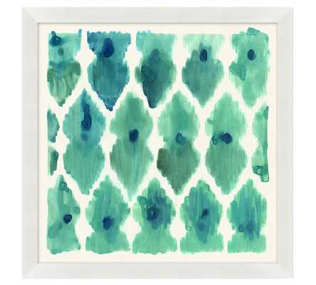 "BLUE AND AQUA DOTS COLORFUL PAINTERLY IKATS FRAMED PRINTS - 21"" SQ. - Pottery Barn"