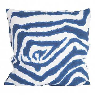 """Zebra Blue Pillow- 20"""" x 20""""- Down insert - Society Social"""