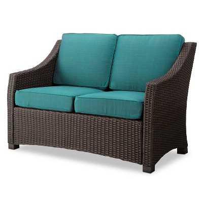 Belvedere Wicker Patio Loveseat - Turquoise - Target