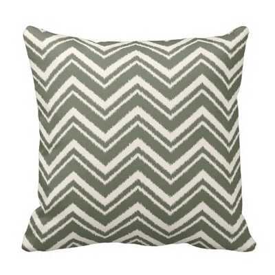 Ikat Chevron Striped Pattern in Olive Green Pillows - Wayfair