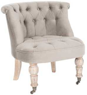 Jeanette Tufted Chair, Taupe - One Kings Lane