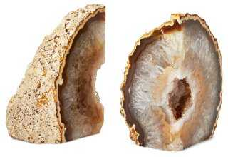 S/2 Agate Geode Bookends - One Kings Lane