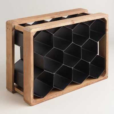 Metal and Wood Honeycomb 11-Bottle Wine Rack - World Market/Cost Plus