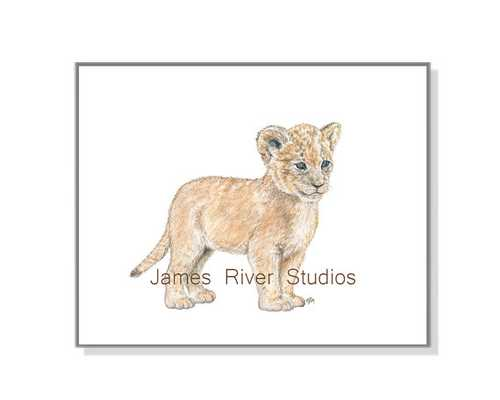 Lion Art Lion Painting Lion Print - unframed - Etsy