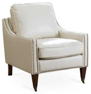 Tara Leather Accent Chair, Ivory - One Kings Lane