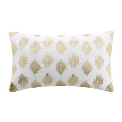 "Ink+Ivy Nadia Dot Embroidered Oblong Cotton Throw Pillow - 12""x 18"" - Polyester Insert - Overstock"