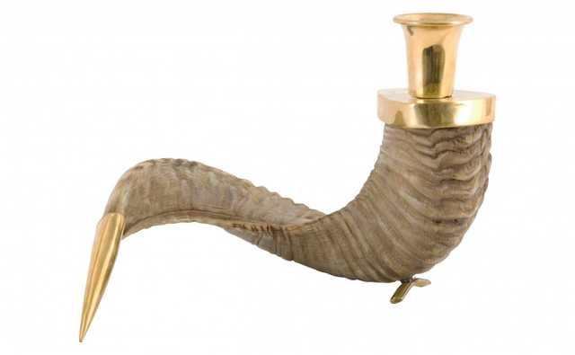 HORN AND BRASS CANDLE HOLDER - Jayson Home