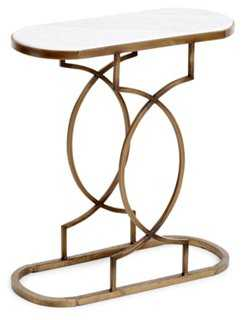Emily Marble Side Table, Gold - One Kings Lane