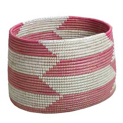 Herringbone Floor Bin - Pink - Land of Nod