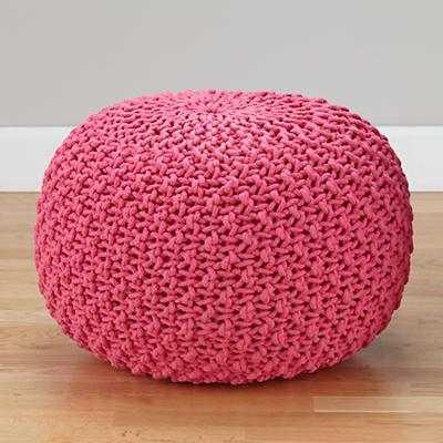 Knit Pouf Seat - Pink - Land of Nod