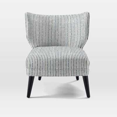 Retro Wing Chair-Prints-Painted Stripe-Regal Blue - West Elm