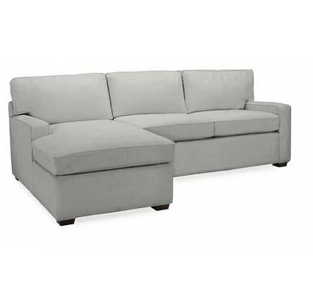 PB SQUARE Right Sofa with Chaise Sectional - Performance everydaysuede, Metal Gray - Pottery Barn