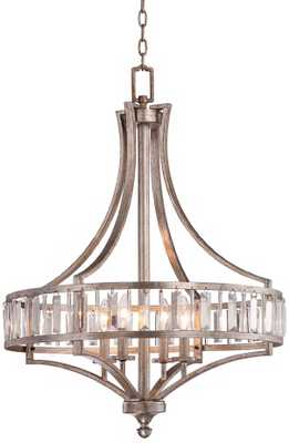 """Soft Silver 4-Light 24"""" Wide Crystal Chandelier - Lamps Plus"""