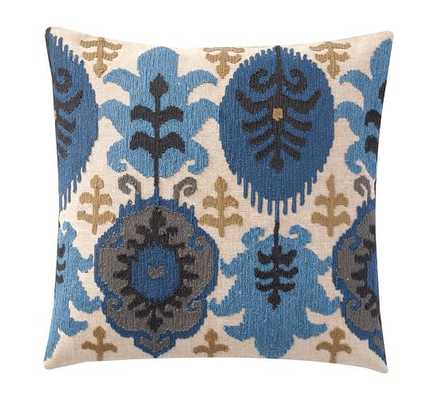 """LEIGH IKAT EMBROIDERED PILLOW COVER - BLUE MULTI - 20"""" square - Insert Sold Separately - Pottery Barn"""