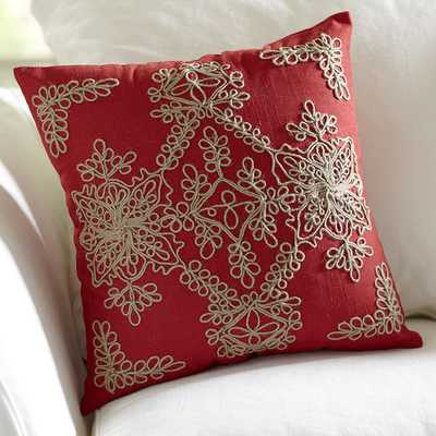 Mia Embroidered Red Pillow Cover - 18sq. - Insert Sold Separately - Birch Lane