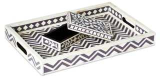 "19"" Chevron Bone Tray - One Kings Lane"