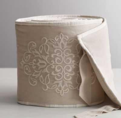 Embroidered trellis crib bumper - RH