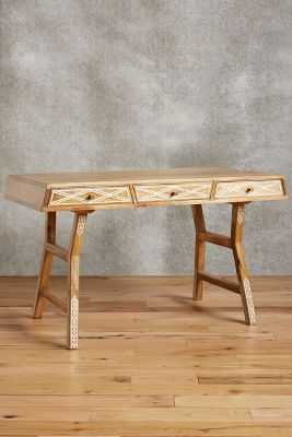 Carved Inlay Writing Desk - Anthropologie