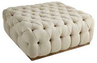 Tufted Cocktail Ottoman, Natural - One Kings Lane