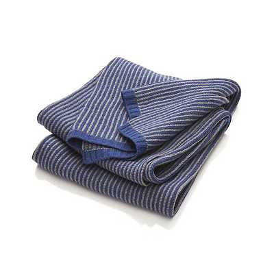 Atticus Blue Striped Throw - Crate and Barrel