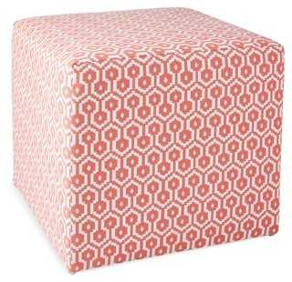 Baker Ottoman, Coral/White - One Kings Lane