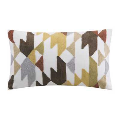 "Konya Embroidered Cotton Lumbar Pillow- Red/Brow - 12"" H x 18"" W - Polyester/Polyfill insert - AllModern"
