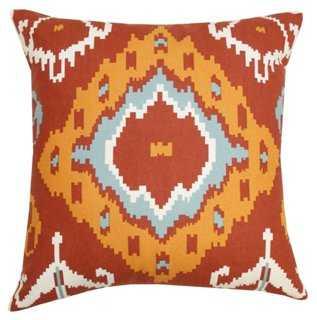 Arizona 20x20 Cotton Pillow, Burnt Red - One Kings Lane
