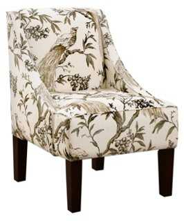 Fletcher Swoop-Arm Chair, Sepia/Ivory - One Kings Lane