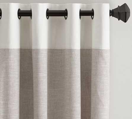 "Emery Border Linen Drape, 50 x 108"", Oatmeal/Ivory - Pottery Barn"