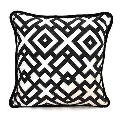 """Bells Bold Weave + Print Pillow- Black/ white- 20"""" L X 3"""" W X 20"""" H- Synthetic Down Insert - Domino"""