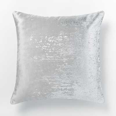 """Faded Metallic Texture Pillow Cover, 18""""x18"""", Silver - West Elm"""