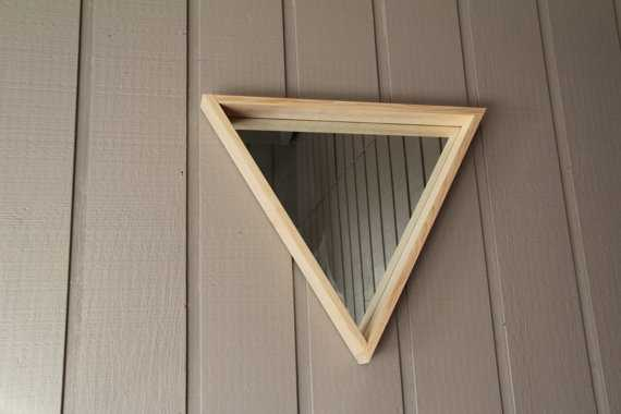 Large Wooden Triangle Mirror - Etsy