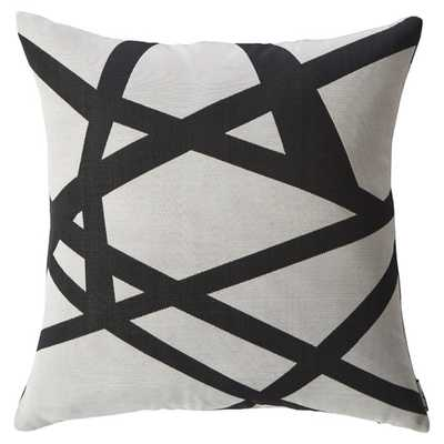 "Webbed Throw Pillow, White and black - 20"" x 20"" - Feather insert - AllModern"