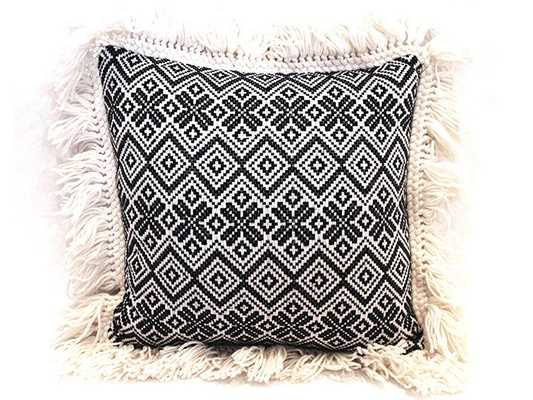 "Nomad Zig Zag Woven Pillow - 16"" L X 16"" H - Synthetic Down Insert - Domino"